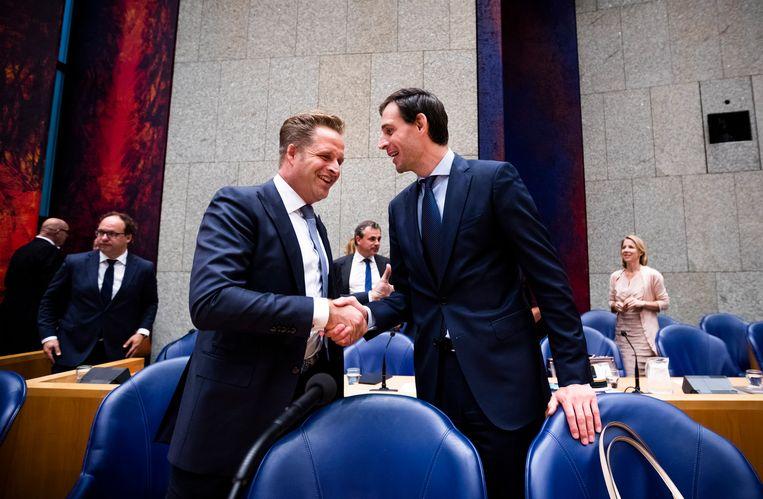 Ministers De Jonge en Hoekstra zijn de gedoodverfde kandidaten om lijsttrekker te worden van het CDA. Beeld Freek van den Bergh