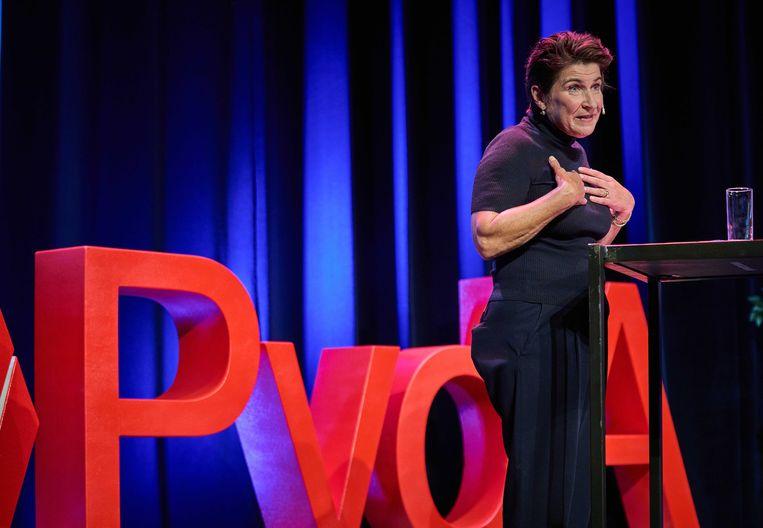 Lilianne Ploumen tijdens de politieke ledenraad van de PvdA. Beeld ANP