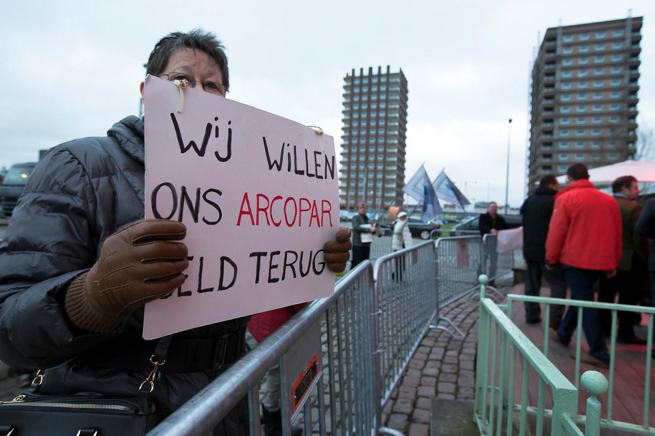 Archiefbeeld van een protestactie van Arco-coöperanten tijdens een nieuwjaarsreceptie van CD&V in 2016.
