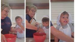 TikTok-filmpje van oma die koekjes probeert te bakken met ongeduldige kleinzoon schiet naar recordhoogte