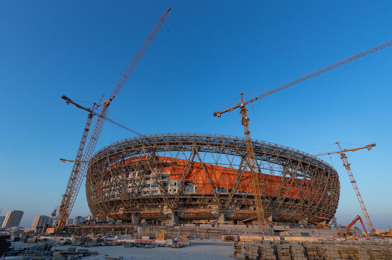 Het Lusail Stadium in aanbouw Beeld AFP