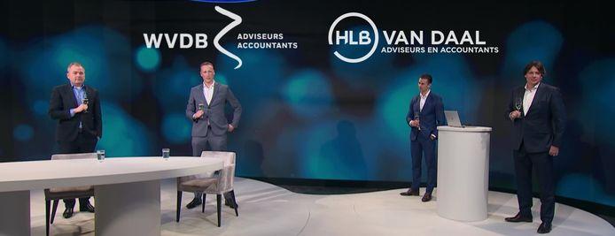 Aankondiging van de fusie tussen WVDB en HLB Van Daal: Stephan Seijkens (WVDB), Rob Becx (HLB Van Daal), Pascal Kosters (HLB Van Daal) en Robèrt Molenaar (WVDB).