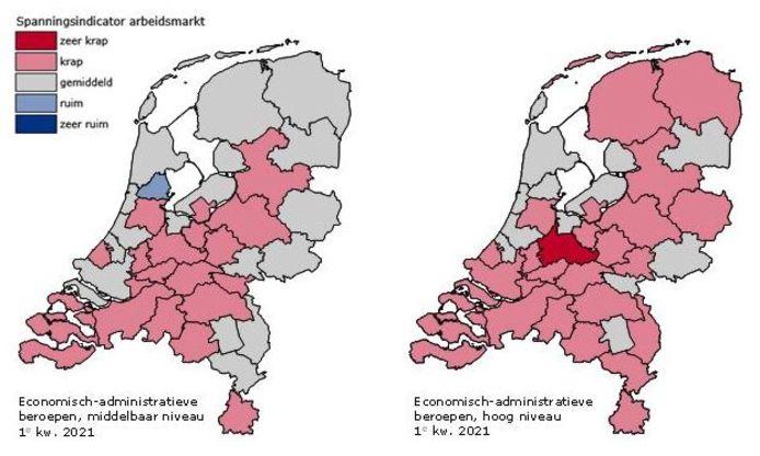 De beide figuren hierna laten zien dat de spanning op de arbeidsmarkt voor economisch-administratief personeel met name op middelbaar niveau in Haaglanden hoger is dan in veel omliggende regio's.