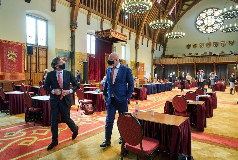 Demissionair minister Ferd Grapperhaus tijdens de plenaire zitting van de Eerste Kamer. Beeld ANP