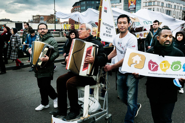 Een manifestatie van Hart boven Hard in Brussel. Beeld Tim Dirven