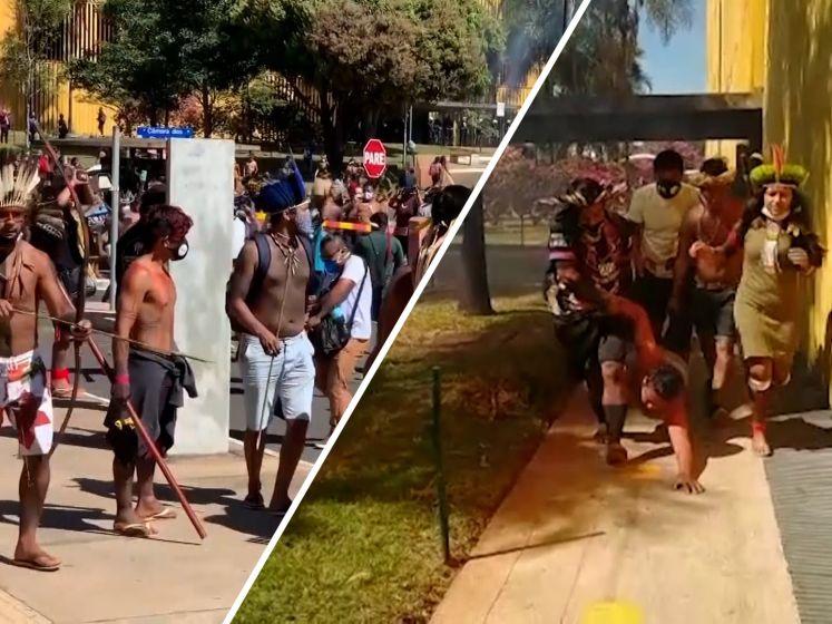 Inheemse bevolking Amazone protesteert tegen nieuwe wet