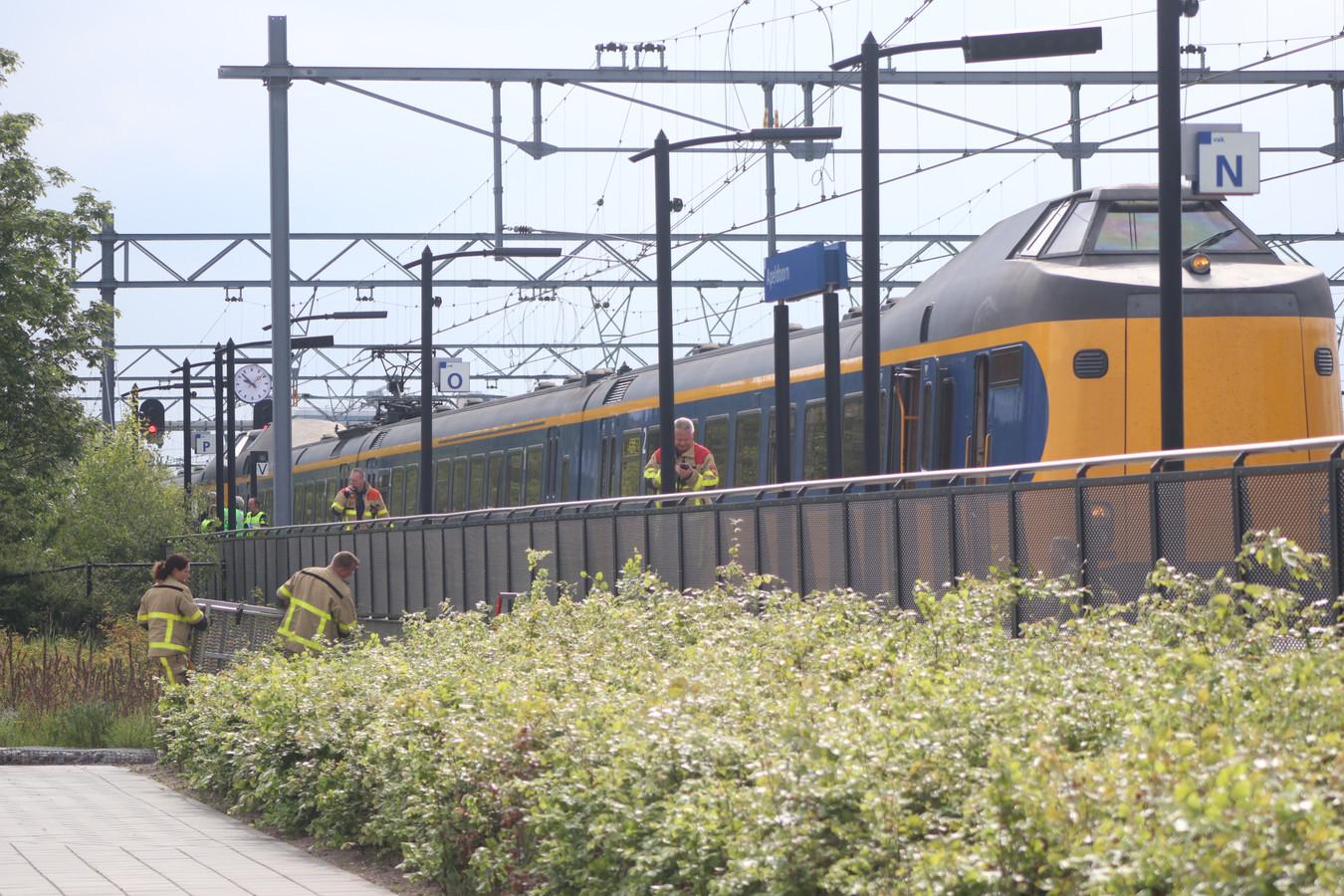 De trein reed net station Apeldoorn binnen.