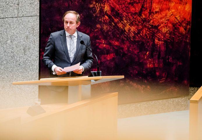SGP-leider Kees van der Staaij (SGP) afgelopen week tijdens het plenair debat in de Tweede Kamer over de ontwikkelingen rondom het coronavirus.