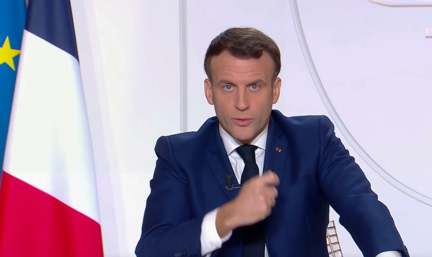 Le président français Emmanuel Macron lors de son allocution ce 24 novembre 2020.