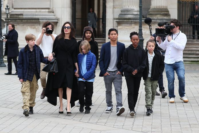 Angelina Jolie en haar kinderen Zahara, Pax Thien, Shiloh, Vivienne Marcheline, Knox Leon en Maddox.