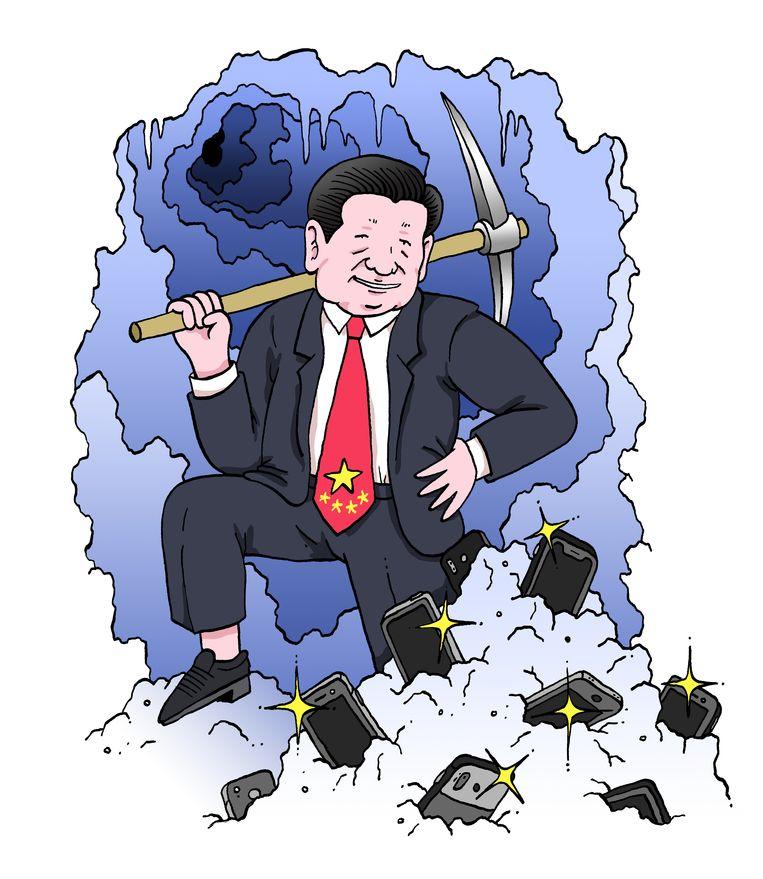 'China heeft bijna een monopolie op zeldzame ertsen. in de bodem zitten heel veel delfstoffen die nodig zijn om smartphones te maken. Dat geeft het land veel macht.' Beeld Sven Franzen