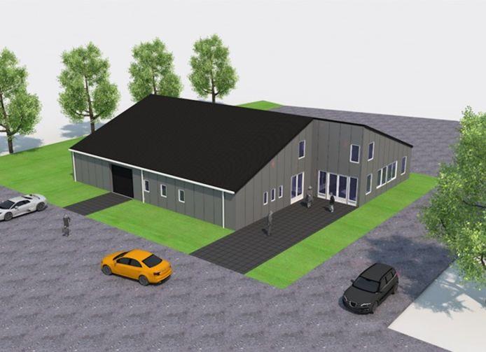 Een impressie van het nieuwe pand van duivencentrum Veerhoek. Als de plannen van de bridgeclub doorgaan, zal nog een bescheiden vleugel met plat dak worden aangebouwd.
