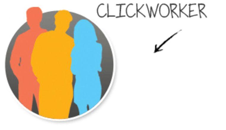 Logo van het bedrijf Clickworker, een platform voor online klusjes Beeld