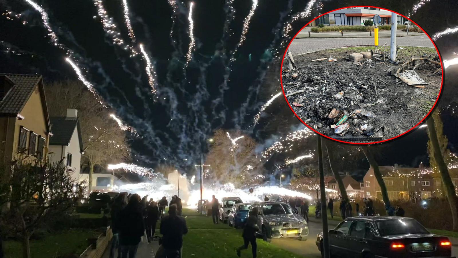 Een vuurwerkbom explodeert en richt veel schade aan op de rotonde aan de Akkers op Urk