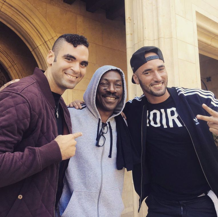 Adil El Arbi, Eddie Murphy en Bilall Fallah Beeld Twitter