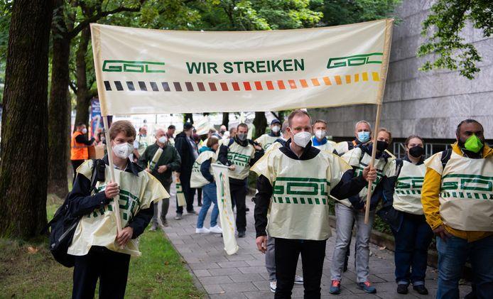 Duitse treinbestuurders die aangesloten zijn bij de vakbond GDL staken in Beieren.