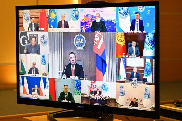 Videobeeld van een bijeenkomst van de Shanghai Cooperation Organisation (SCO), met Rusland als voorzitter. Beeld Alexei Nikolsky / Tass