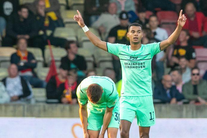 Cody Gakpo eerder dit seizoen met een goal tegen Go Ahead Eagles.    during the match Go Ahead Eagles - PSV