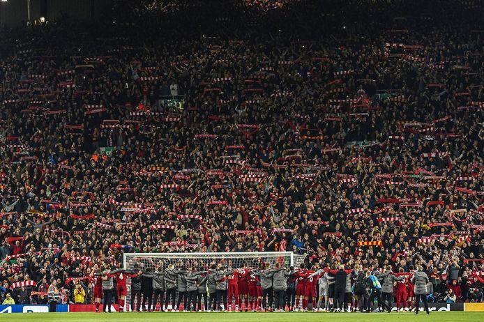 Liverpool viert de 4-0 zege op Barcelona in 2019.
