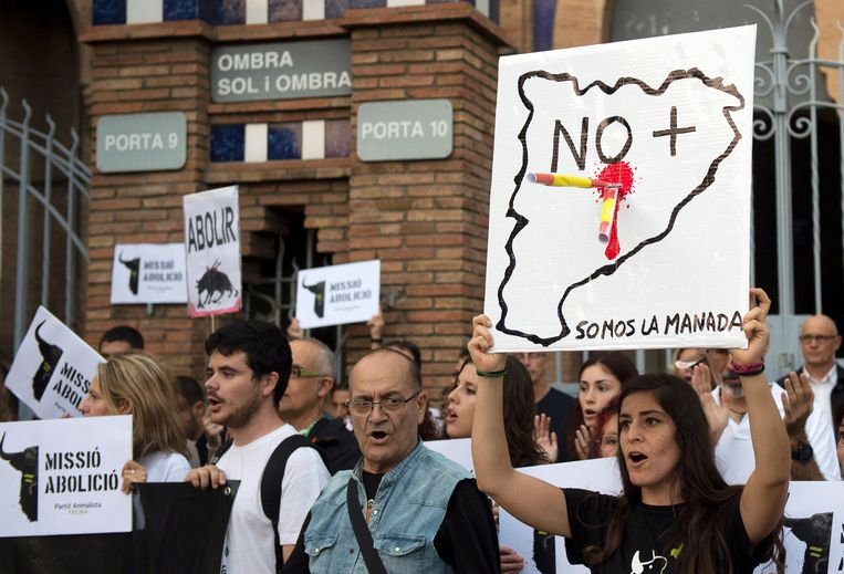 Protest tegen de stierengevechten in Catalonië. Beeld AFP