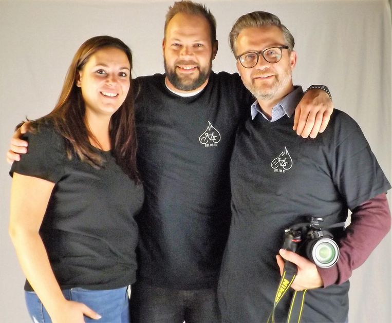 Het team achter 'Bike for MS 2018'. V.l.n.r.: Evelyne Renard, Maarten Van der Mueren en Sven Van Santvliet.
