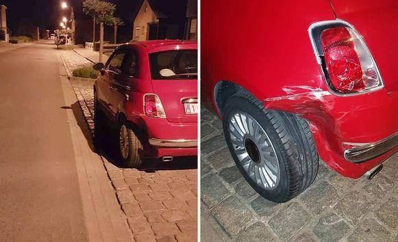 De aangereden Fiat 500