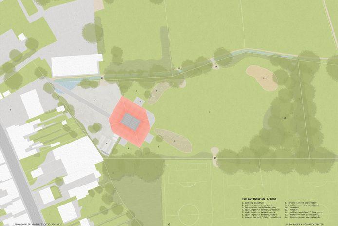 De nieuwe gebouwen zijn gepland op een terrein achter het huidig lokaal in de Kattestraat, aansluitend op de sportzone Kerkeputten.