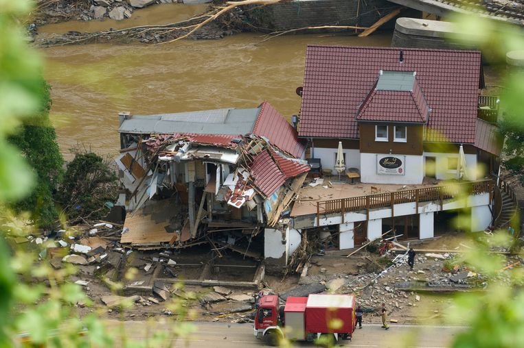 17 July 2021, Rhineland-Palatinate, Bad Neuenahr-Ahrweiler: A general view of a destroyed property at the the Ahr valley of the Walporzheim district in the aftermath of the deadly floods that engulfed parts of Rhineland-Palatinate. Photo: Thomas Frey/dpa Beeld Thomas Frey/dpa