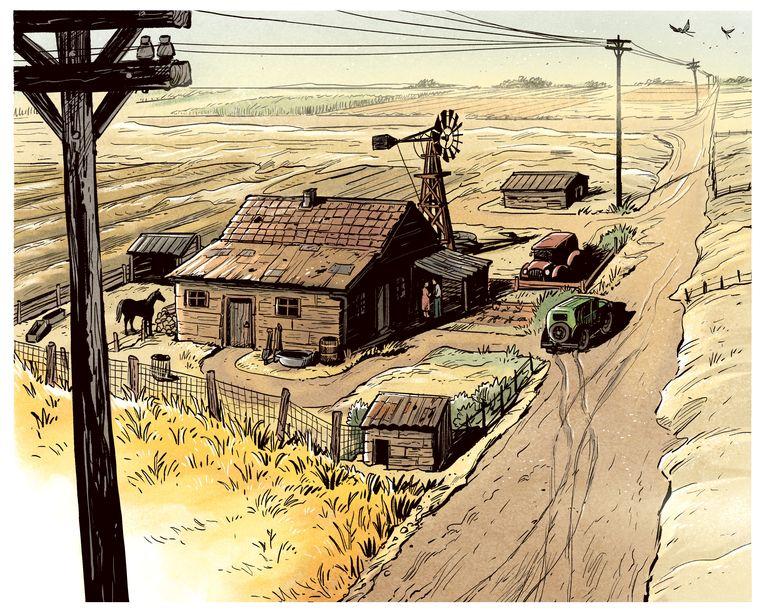 De Jongh tekent in Dagen van zand realistisch.  Beeld Jours de Sable © 2021 Dargaud / De Jongh