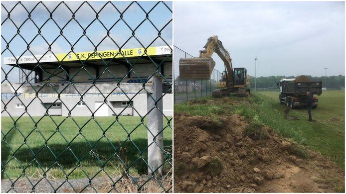 Links het Lamme Guiche Stadion, rechts Kruisveld  waar de eerste werken begonnen zijn voor het nieuwe stadion.