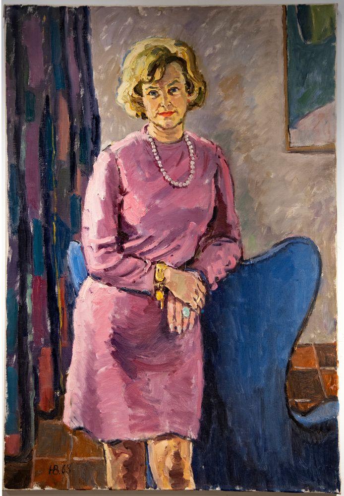 Het schilderij met de onbekende dame, in 1968 geschilderd door Hugo Brouwer.