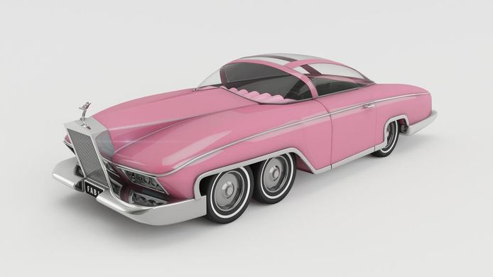 De Legoversie van de FAB1 en de 'echte' roze limousine uit de poppenreeks Thunderbirds.