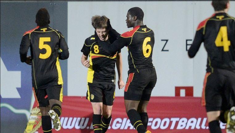 Van Der Bruggen scoorde het Belgische doelpunt. Beeld PHOTO_NEWS