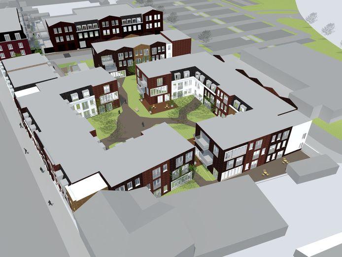 Zorginstelling tanteLouise en bouwfirma De Nijs-Soffers willen circa 112 verpleegzorgkamers bouwen aan de Raadhuisstraat (links) in Hoogerheide. Er is een parkeerkelder met 86 plaatsen voorzien, daarboven komen kamers in drie lagen (de twee 'U-vormen'), met voorzieningen op de begane grond.