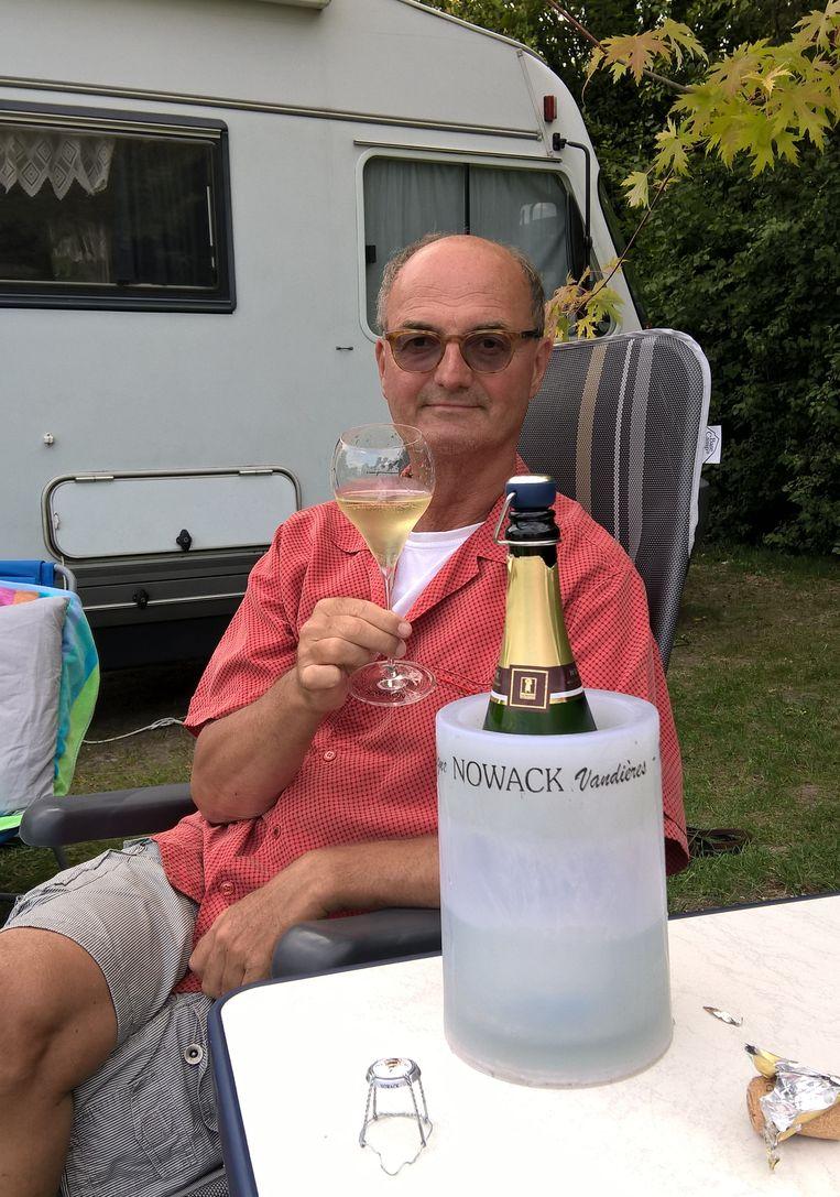 Kees-Jan Donkers tijdens een eerdere reis in de Champagne. Beeld privéfoto