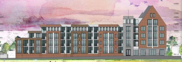Het appartementencomplex zou binnen de plannen vijf bouwlagen gaan tellen en 23 meter hoog worden.