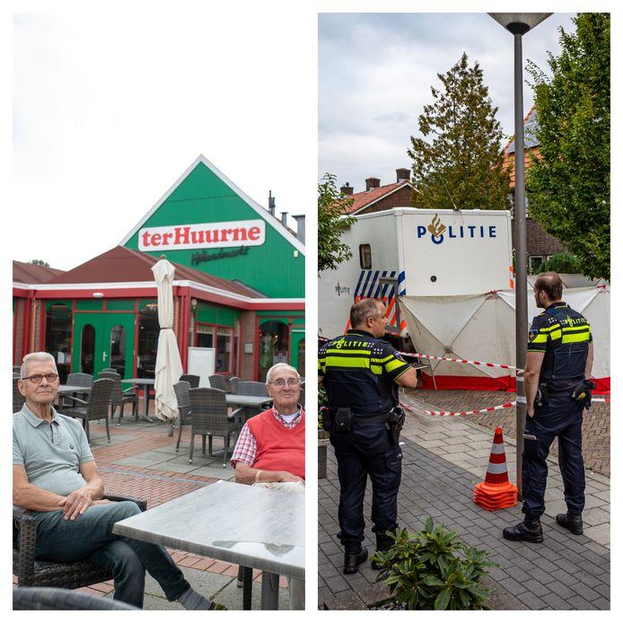 Links: de broers Engbert Jan Wooldrik (links) en Henri Wooldrik kozen uiteindelijk voor een Nederlands kopje koffie. Rechts: Politie doet onderzoek in een woning aan de Zonnebloemstraat in Almelo, waar een 43-jarige man zijn partner Sandra Rozeman om het leven zou hebben gebracht.
