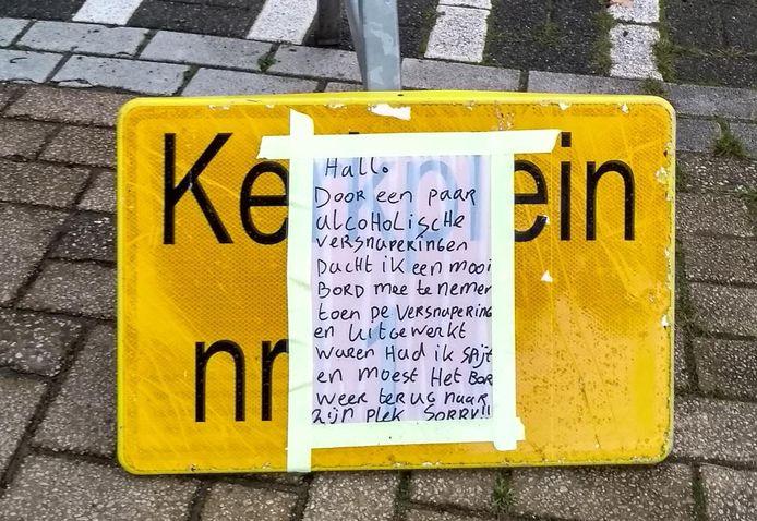Een beschonken feestganger kwam een dag na het stelen van een verkeersbord in Gendringen tot inkeer  en bracht het bord - beplakt met een spijtbetuiging - netjes terug naar de plaats van herkomst.