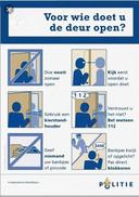 Pamflet waarmee de politie waarschuwt voor oplichters aan de deur.