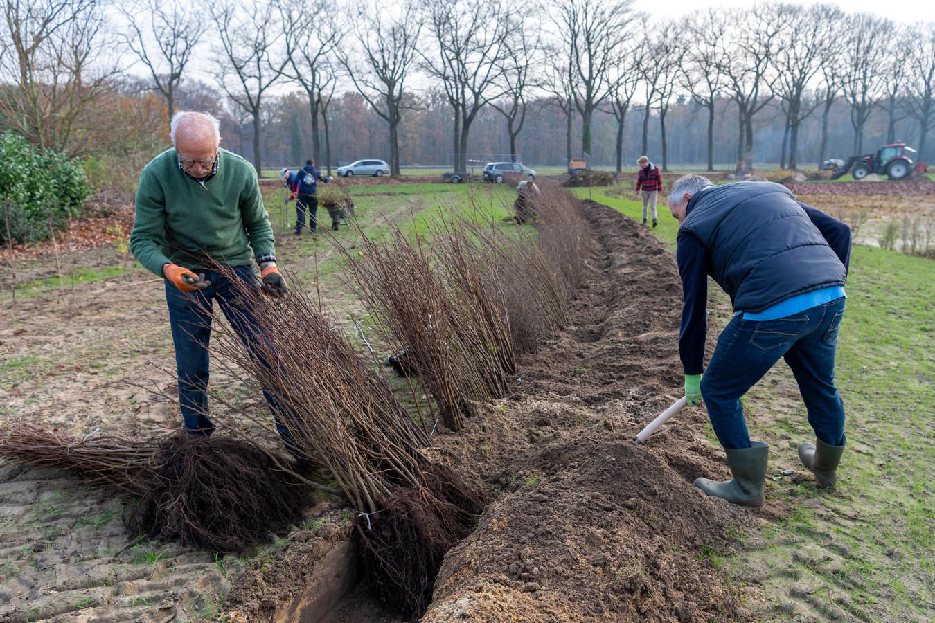 Vrijwilligers van Intents en Duurzaamheidsvallei, met links voorzitter Henk Hoppenbrouwers, zetten samen een retentiebekken in het groen.
