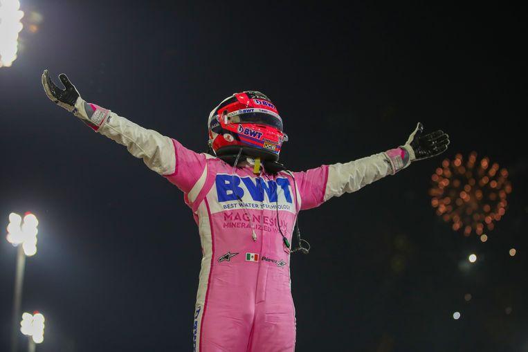 Sergio Pérez na het winnen van de Grand Prix in Bahrein, begin deze maand. Beeld AFP