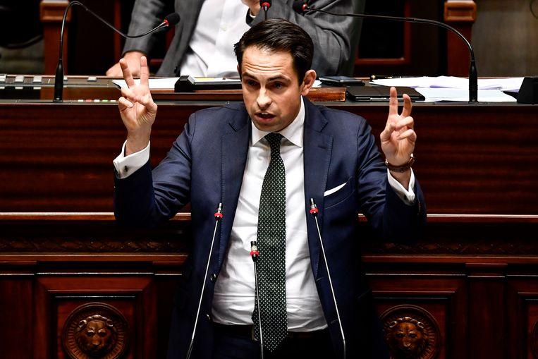 Vlaams Belang-voorzitter Tom Van Grieken: 'De persoonlijke mening van Jef is blijkbaar een struikelblok.' Beeld BELGA