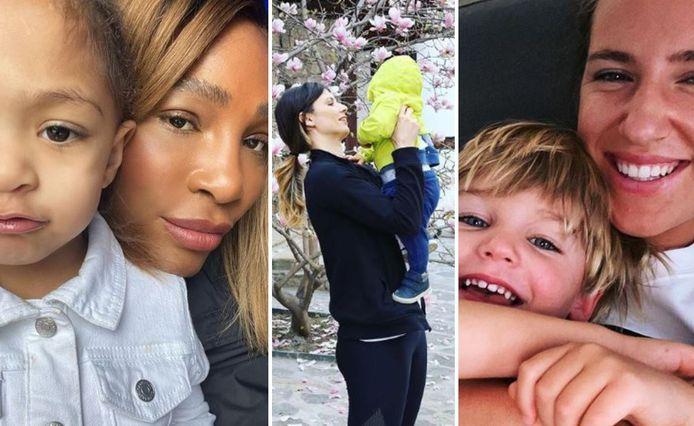 Serena Williams met Olympia, Pironkova met Alexander en Azarenka met Leo.