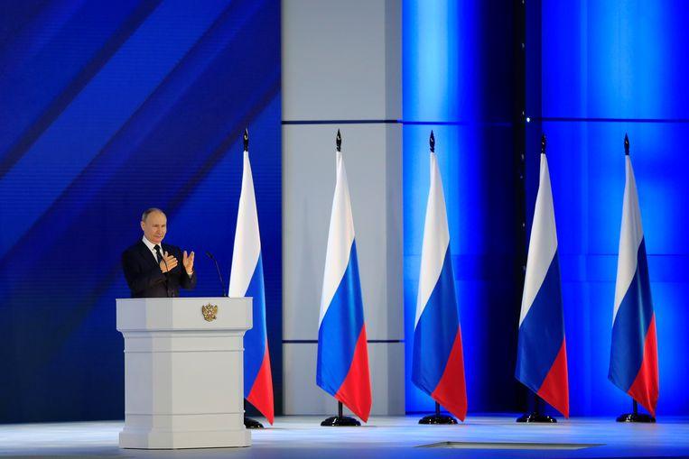 Poetin bij zijn jaarrede in het Russische parlement. Beeld REUTERS