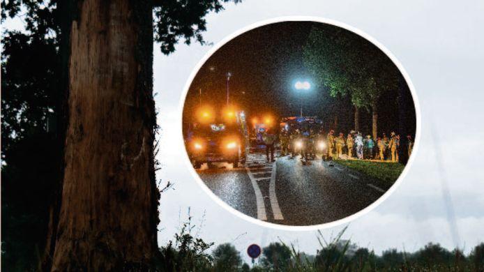 De boom waar de auto tegen tot stilstand kwam. Inzet: Hulpdiensten kwamen massaal ter plaatse op de N756 bij Raalte vanwege het ernstige ongeluk.