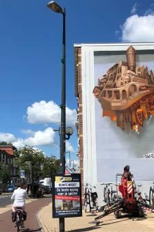 Mooiste panden van Straatweg op muurschildering aan begin van Amsterdamsestraatweg in Utrecht