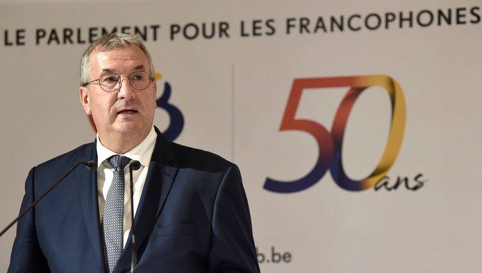 Pierre-Yves Jeholet à l'hôtel de Ville de Bruxelles ce lundi à l'occasion de la fête de la Fédération Wallonie-Bruxelles, qui fête son 50e anniversaire cette année.