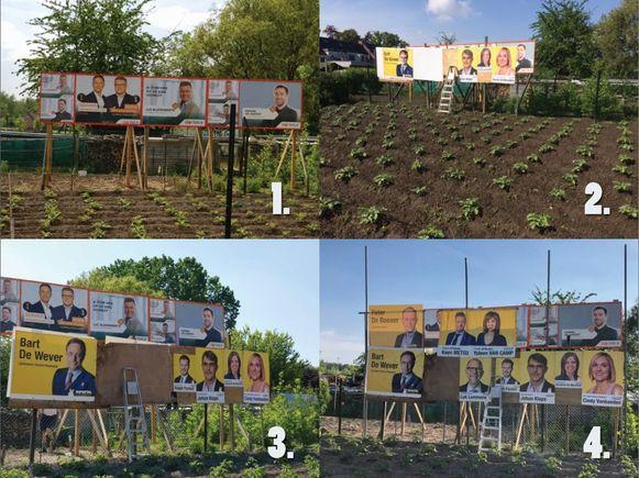 Situatie 1: CD&V laat affiches plaatsen. Situatie 2: De zichtbaarheid van CD&V-affiches wordt belemmerd door N-VA-affiches op het grondgebied van Dias. Situatie 3: CD&V en N-VA komen tot een oplossing, de CD&V-affiches worden verhoogd. Situatie 4: N-VA hangt extra affiches waardoor het zicht van de CD&V-campagne weer belemmerd wordt.