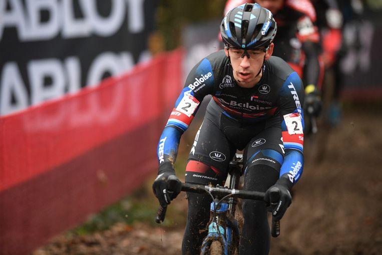 Lars van der Haar in de Druivencross, de laatste wereldbekerwedstrijd in Overijse afgelopen zondag.  Beeld Belga
