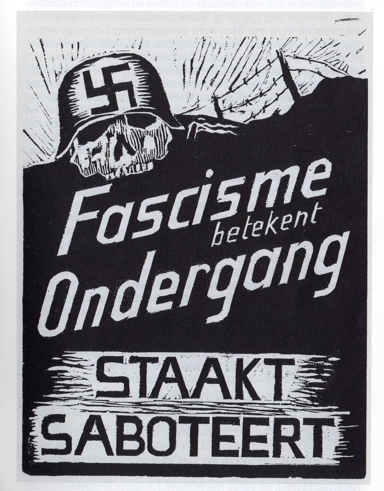 Affiche, gedrukt in de drukkerij van de Hoogendoorns. Beeld Illustratie uit boek